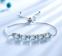 925 Sterling Prata Cerúlia Azul Azul Marinho Chain Chain Link Pulseira Ajustável Pulseira Presente Romântico para o Dia dos Namorados