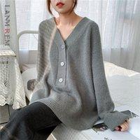 LANMREM 2020 Осень Корейский траншеи шикарные Винтажные V-образные вымычки Свободные кашемировые вязаные свитер женские вершины средней длины одежда Famale PC440
