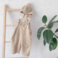 새로운 아기 키즈 바지 아기 서스펜 바지 솔리드 아기 소녀 봉제 바지 모자와 함께 1-6 년 소녀 아이들을위한 귀여운 바지 바지 lj201203