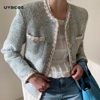 UVRCOS 2020 Sonbahar Kış Tüvit Coat Kadınlar Uzun Kollu Tek Göğüslü Kore Stil Minimalist Bayanlar Ceketler Zarif Vestidos