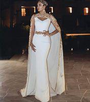 Élégante Kaftan marocaine Arabe Dubaï Longue Mermaid Robes de soirée avec haussement d'épaules et enveloppements 2021 Dentelle Appliques Perles Perles Femmes Prom Fête Robe
