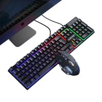 Keyboard Mouse Combos Gamer Kit Wired Gaming Backlight Mecânica Mecânica Teclados PC Backlit Game 104 Chaves Keycaps Arco-íris