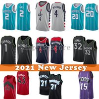 Hommes 4 Russell Lamelo 2 balle Westbrook Basketball Jersey Gordon 20 Hayward Kevin 21 Garnett Anthony 1 Edwards Karl-Anthony 32 villes 2021 Nouveau