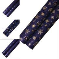 Imballaggio carta regalo decorativo metallico colore scuro blu carte stelle stelle albero di natale modello stampa regali di partito oro 0 66WK N2