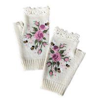 خمسة أصابع قفازات النساء الشتاء محبوك أصابع الأزهار النحل التطريز thumbhole القفازات x7YA