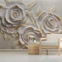 Пользовательские настольные обои для стен для спальни 3D стереоскопическая рельефная роза цветок творческий живущая комната фон декор стен