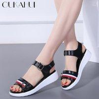 Oukahui Мода Смешанный цвет Натуральная Кожа Лето Повседневная Плоская Платформа Сандалии Женщины 2020 Пряжка Штап Braple Sandals Женщины 4см1