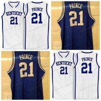 Özel Retro # 21 Tayshaun Prens Koleji Basketbol Forması Erkek Dikişli Beyaz Mavi Herhangi Boyutu 2XS-5XL Adı veya Numara