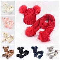 Baby Winter Berryies Sciarpa Set Cappelli Bambini Pom Beanie Cappello a maglia Cappello Casual Cappuccio caldo con sciarpe della lettera LJJA3291-5