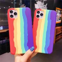 Coque de téléphone silicone liquide arc-en-ciel pour iPhone 11 12 PRO Max x XS MAX XR Mini 7 8 Plus 2 Gel Cover Caoutchouc Couvercle Rainbow Coque