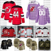2021 Customize #44 Miles Wood New Jersey Devils Jerseys Golden Edition Camo Veterans Day Fights Cancer Custom Stitched Hockey Jerseys