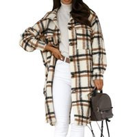 여성용 양모 블렌드 2021 겨울 겨울 체크 여성 자켓은 오버 코트 따뜻한 체크 무늬 긴 코트 대형 두꺼운 모직 여성 streetwear