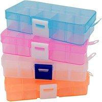 10 slots Organizador de Jóias Transparentes Caixa de Armazenamento de Plástico Mostrar Caso Organizador Suporte para Beads Ring Brincos