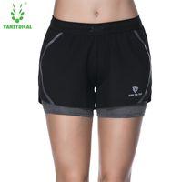 Vansydical Женщины бегущие шорты спортивные спортивные йога спортивная одежда ложные две части фитнес тренажеры спортзал сжатия шорты одежда T200412