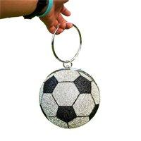 Frau Luxus Fußball Geldbörse Umhängetasche Kristall Runde Ball Abendkette Sling Hand Taschen Frauen Kupplungen und Abendtaschen