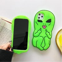 3D desenhos animados alienígena soft silicone telefone caso capa capa para iphone 12 11 pro x xs max xr 6 6 s 7 8 mais dhl livre