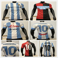 Player Version 2020 Napoli Vierth 1986 Argentinien Maradona Soccer Jerseys Retro Newells Old Boys Maradona # 10 Neapel Fußball Hemd Uniform