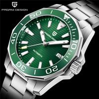크리스마스 무료 Pagani 디자인 수족관 세라믹 베젤 그린 시계 자동 기계 운동 시계 스테인레스 스틸 남자 손목 시계