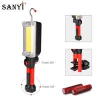 Lanternas Torchas Sanyi 2 Modos COB LED Work Inspeção Luz USB Recarregável 18650 Lanterna Gancho Magnético Pendurado Tocha De Camping Lamp1