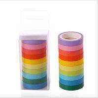 rainbow الصلبة اللون اليابانية اخفاء اشي ورقة لزجة الشريط لاصق الطباعة diy سكرابوكينغ 2016 ديكو اشي الشريط