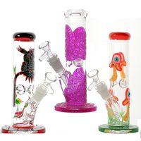 Glühen Sie im dunklen hinteren Glas Bong 3D-Pilz-Eulen-Muster-Wasser-Rohre Gerade Perc-Öl-DAB-Rigs mit diffusen Dazemas-Kehnas LXMD20106