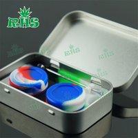 Kit di contenitori in silicone in gomma 4 in 1 con 1 pz in scatola di latta 2pcs 5ml DAB Jar DAB DABBER Strumento per vaporizzatore di cera dell'olio BHO