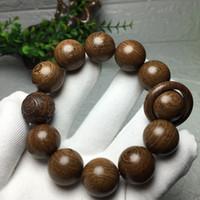 20mm * 12pcs Golden Sandalwood Prière Perles Perles Hommes Bracelet Tibétatan Bouddhiste Mala Bouddha Bracelets Yoga Rosaire En Bois pour femme Bijoux