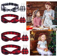 Christmas Parent- child Red Plaid Print Headbands Bowknot Hea...