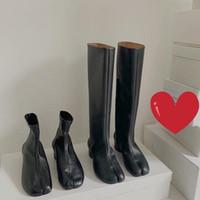 Çizmeler 2021 Kış Ayakkabı Bölünmüş Toe Tıknaz Yuvarlak Yüksek Topuklu Kadın Moda Tabi-ayakkabı Diz-Yüksek Zapatos De Mujer Zapato