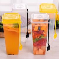 960 мл одноразовые чашки толстые прозрачные пластиковые питьевые чашки с чашкой сока крышки с вилкой