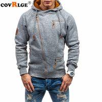 Covrlge Hoodies 남자 가을 캐주얼 솔리드 지퍼 긴 소매 까마귀 스웨터 탑 outwear Sudaderas 파라 Hombre T200103