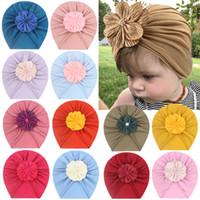 أزياء الطفل بنات زهرة قبعة ربيع الخريف بوتيك ستيريو زهرة الاطفال عارضة قبعات الأطفال دافئ قبعة الوليد قبعة الجمجمة كاب C6807