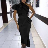 Womens Bodycon ein Schulterkleid Damen Party Abend Midi Kleider Robe Femme Robe Longuenbandage Kleid Vestidos