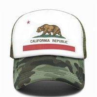 California سائق الشاحنة كاب الرجال الدب كاليفورنيا الجمهورية العلم قبعات النساء مضحك الهيب هوب قبعة قبعة بيسبول بارد الصيف شبكة قبعة