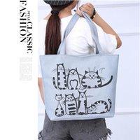 النساء متعدد الاستخدامات قماش 2 ألوان أكياس الكرتون الحيوان مع مقبض حقيبة تسوق هدية حقيبة حقيبة حمل حقيبة يد التسوق السيدات