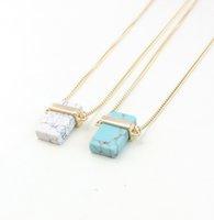 Collares colgantes de cuarzo de cristal para mujeres rectángulo collar de piedra natural joyería de moda