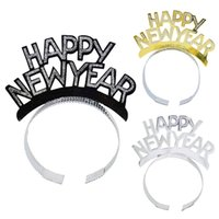 Black Gold Silver Happy New Year Headband Hair Accessories New Year Party Decorations Head Hoop Photo Booth Props Supplies
