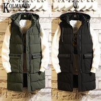 KOLMAKOV Long Vest For Men In Autumn And Winter Slim And Thicken Medium Length Hooded Solid Coat Male Jacket Size S-3XL