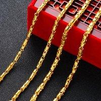 Luxus 24 Karat Gelbgold Halskette 4mm 3mm Hohlzylinder Herren 50 cm 45 cm Nackenkette Geburtstag Fine Schmuck Geschenkketten