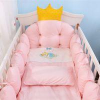 Kit de ropa de cama de cuna 100% algodón, conjunto de ropa de cama de cuna de bebé de diseño de corona, juego de ropa de cama para bebé Incluye parachoques + almohada + edredón + cubierta de colchón LJ201105