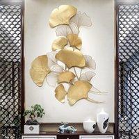 Moderno lujo de hierro forjado pared colgando Ginkgo Hoja Crafts Decoración de la decoración del hogar Pegatina de pared Pórgamo Mural Accesorios LJ200904