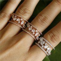 UILZ Fashion Micro Pave Cubic Zirconia Big Finger Кольцо Женщины Белые Золотые кольца Ювелирные Изделия UR2401