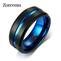 Zorcvens Black Tungsten Carbide 링 남성용 여성 매트 완성 웨딩 밴드 블루 탄소 섬유 그루브 반지 쥬얼리 Y0122