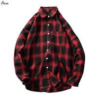 Erkek Casual Gömlek Mkass Kırmızı ve Siyah Ekose Gömlek Erkekler Bahar Moda Chemise Homme Erkek Damalı Uzun Kollu Bluz1