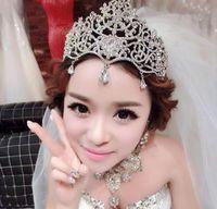 2021 Gelin Taçları Tiaras Aksesuarları Düğün Takı Kristal Ucuz Moda Stil Gelin Saç Aksesuarları Takı Kadın Başlıklar