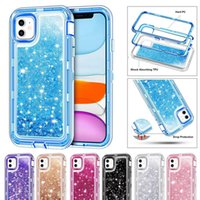 삼성 S20 플러스 노트 10 Pro Shockproof Liquid Quicksand Glitter Case for iPhone 12 Pro Max XR 8 클립 opp 가방