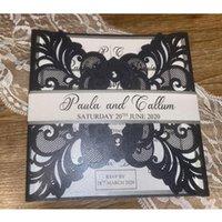 Corte de bolsillo personalizado Pliegue invitaciones de boda Corte láser Invitaciones Conjunto de invitaciones blancas elegantes