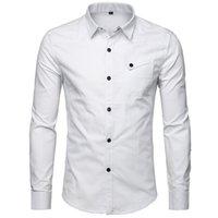 Camisa blanca para hombre 100% algodón hombres de negocios camisas camisas nuevo botón arriba hombres manga larga casual slim fit chemise homme 5xl