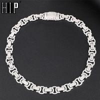 Hip Hop 14mm Byzantine Baguette Bling Box Bling Fibbia ICED OUT CZ Ambito in rame + Cubic Zirconia Pietre Catena per gioielli da uomo