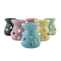 Ceramic Essential Oil Lamps Fragrance Lamps Hollow Stars Moo...